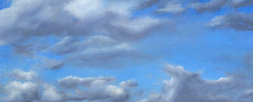 Wolken - Öl auf Holz
