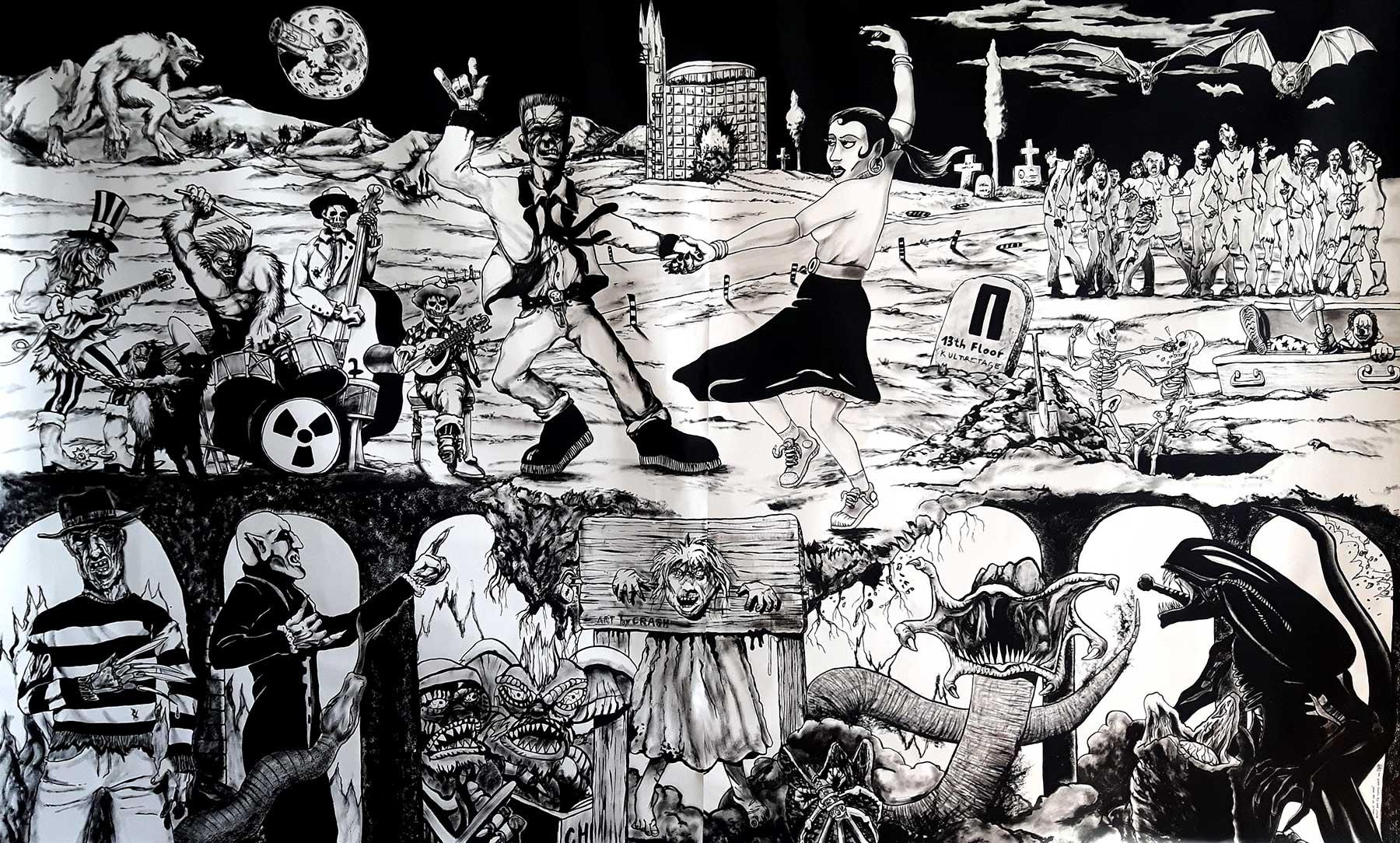 "großformatige Acrylmalerei auf Leinen ""Howlin' at the Moon"""