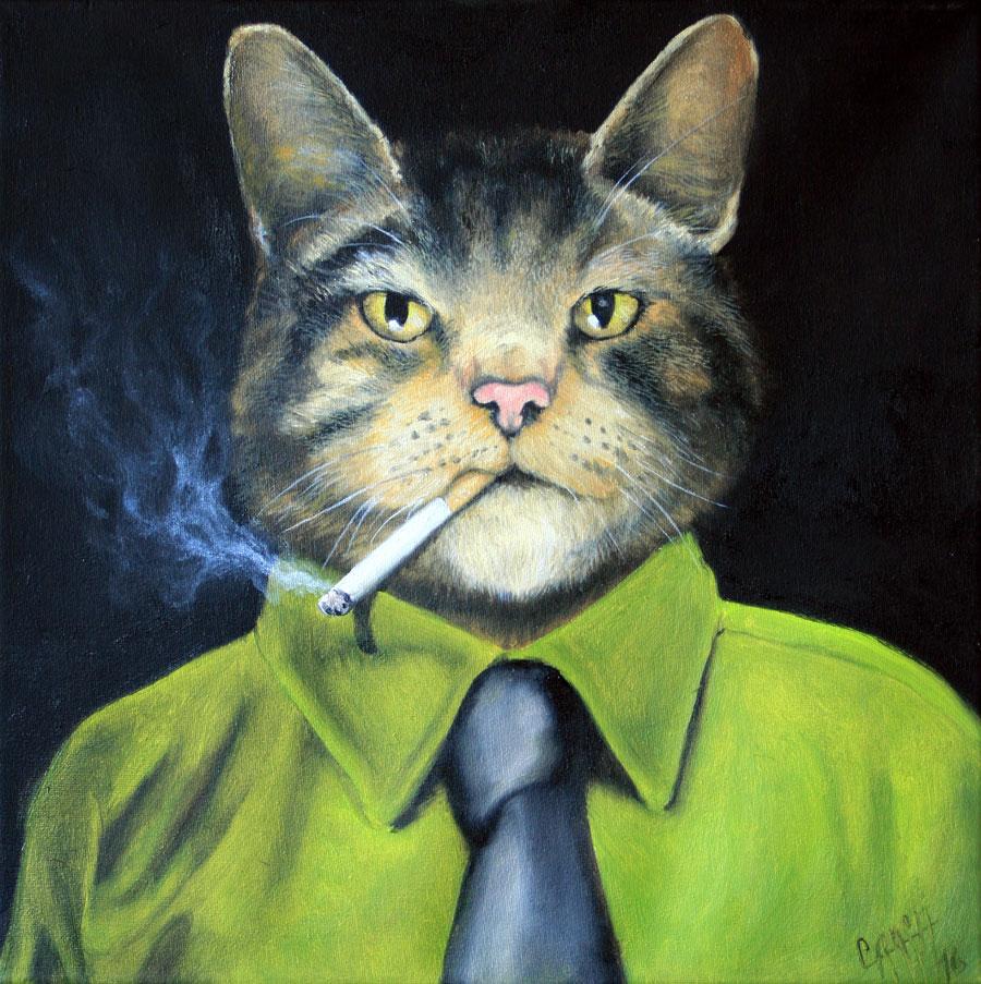 Tierporträt: Mr. Jones, Öl auf Leinwand